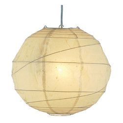 "Adesso - Orb Pendant, Large - Natural round rice paper collapsible shades with uneven bamboo ribs. 15"" cord with socket and hanging apparatus included. Line switch. 100 Watt incandescent or 26 Watt CFL bulb."