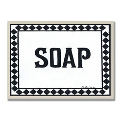 Stupell Industries - Soap Black and White Wall Plaque - Made in USA. Ready for Hanging. Hand Finished and Original Artwork. No Assembly Required. 15 in L x .5 in W x 10 in H (2 lbs.)Made in USA! Point your guests in the right direction with elegant bathroom plaques from The Stupell Home decor CollectionEach plaque comes with a sawtooth hanger for easy installation on bathroom doors or walls.