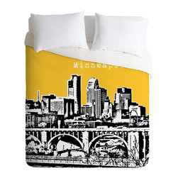 DENY Designs - Bird Ave Minneapolis Yellow Duvet Cover - Turn your basic, boring down comforter into the super stylish focal point of your bedroom. Our Luxe Duvet is made from a heavy-weight luxurious woven polyester with a 50% cotton/50% polyester cream bottom. It also includes a hidden zipper with interior corner ties to secure your comforter. it's comfy, fade-resistant, and custom printed for each and every customer.