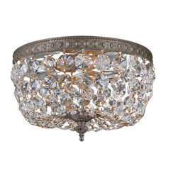Crystorama - Crystal 2-light Flush with English Bronze Finish - Featuring a dramatic look and a posh design, this two-light crystal flush will turn your dining room into a fancy ballroom. The hand-polished crystals will reflect the light in a luxurious way, and the English bronze finish adds a vintage look.