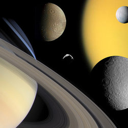 Collage of Saturn and It's Moons Print - This image collage features Saturn and the moons Titan, Enceladus, Dione, Rhea and Helene, which will be studied in the extended mission. The Cassini-Huygens mission is a cooperative project of NASA, the European Space Agency and the Italian Space Agency. The Jet Propulsion Laboratory, a division of the California Institute of Technology in Pasadena, manages the mission for NASA's Science Mission Directorate, Washington, D.C. The Cassini orbiter and its two onboard cameras were designed, developed and assembled at JPL. The imaging operations center is based at the Space Science Institute in Boulder, Colorado. Image credit: NASA/JPL/Space Science Institute