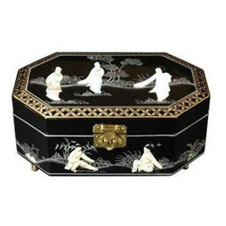 Oriental Furniture - Violetta Jewelry Box - Black - This elegant lacquered jewelry box was handcrafted by artisans in the Guangdong province of mainland China. The excellence of their craft is evident in the delicate, hand-painted details, the carefully fitted carpentry, and the rich, smooth lacquer finish. The compartment is lined with fine red felt, and features a removable ring tray. This jewelry box makes a wonderful gift for a loved one, or a special treat for yourself!