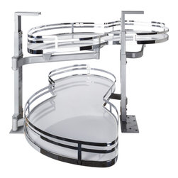 Hardware Resources - Blind Corner Swing Out  Left Handed Unit.  15 Opening - Blind Corner Swing Out  Left Handed Unit. Minimum 15 opening for Frameless or Face Frame Cabinets. White laminated non slip shelves with Chrome edging  ships complete with installation instructions.