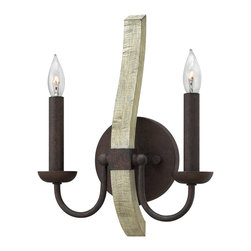 Fredrick Ramond - Fredrick Ramond FR40572IRR Middlefield 2 Light Wall Sconces in Iron Rust - Middlefield�s rustic chic design captures a historical feel with its solid distressed wood and steel construction. A pear-shaped wood finial adds an additional elegant detail and may be hung inside or outside the frame.