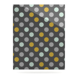 """Kess InHouse - Pellerina Design """"Minty Polka"""" Gray Metal Luxe Panel (24"""" x 36"""") - Our luxe KESS InHouse art panels are the perfect addition to your super fab living room, dining room, bedroom or bathroom. Heck, we have customers that have them in their sunrooms. These items are the art equivalent to flat screens. They offer a bright splash of color in a sleek and elegant way. They are available in square and rectangle sizes. Comes with a shadow mount for an even sleeker finish. By infusing the dyes of the artwork directly onto specially coated metal panels, the artwork is extremely durable and will showcase the exceptional detail. Use them together to make large art installations or showcase them individually. Our KESS InHouse Art Panels will jump off your walls. We can't wait to see what our interior design savvy clients will come up with next."""