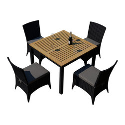 Harmonia Living - Arbor 5 Piece Outdoor Modern Patio Dining Set, Charcoal Cushions - Now you can dine alfresco everyday (and night) of the year with this outdoor wicker set, consisting of four side chairs and a natural teak-topped table. Each piece is designed to weather the elements beautifully, providing you with years of use.