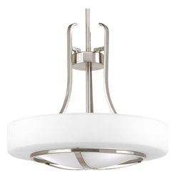 Progress Lighting - Progress Lighting P5085-09 3-Light Inverted Pendant with Opal Etched Glass Shade - Progress Lighting P5085-09 3-Light Inverted Pendant with Opal Etched Glass Shade
