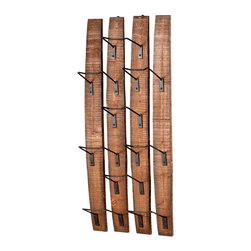 Kathy Kuo Home - Large Fresno Reclaimed Wood Modern Rustic Wine Bottle Shelf - The ingenious use of existing or recycled materials is one of the most charming aspects of rustic lodge style, perfectly realized in this wall mounted wine rack. Perfect for lodge or loft, this functional piece holds nine bottles beautifully.