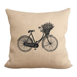 Fiber and Water - Vintage 1940's Dutch Bicycle Pillow - A beautiful, vintage 1940's dutch bicycle with a basket of flowers. This hand-printed piece of art has beautiful texture from a combination of natural burlap and water-based paints. Hand-pressed onto natural burlap using water-based inks.