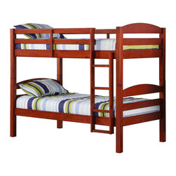 Walker Edison - Twin Solid Wood Bunk Bed - Cherry - Beloved for its compact foot print, this bunk bed is the perfect addition for any bedroom. Crafted from solid pine wood, this traditional bunk bed is sturdy and exceptionally stylish. Features full length guardrails and an integrated ladder. A great solution for space-saving needs, this bunk bed easily converts into two individual beds for versatility.