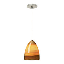 "Tech Lighting - Nebbia Amber Glass Satin Nickel Tech Lighting Mini Pendant - The Nebbia pendant features hand-blown glass that's accented with an elegantly fused glass wrap. The look is sleek artistic and beautiful. Includes a built-in 12 volt 75 watt transformer for easy installation. Satin nickel finish ceiling canopy mounts to a standard 4"" junction box. Six feet of field-cuttable suspension cable is included. From Tech Lighting. Satin nickel finish. Hand-blown glass. Built-in transformer. Includes six feet of field-cuttable suspension wire. Includes one 50 watt bi-pin halogen bulb. Glass is 7 1/2"" high 6"" wide.  Satin nickel finish.   Hand-blown glass.   Built-in transformer.   Includes six feet of field-cuttable suspension wire.   Includes one 50 watt bi-pin halogen bulb.   Glass is 7 1/2"" high 6"" wide."