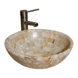 """The Allstone Group - L-VMR-SS-16WS Polished #8 Vessel Sink - Natural stone strikes a balance between beauty and function. Each design is hand-hewn from 100% natural stone.  Allstone mosaic vessel sinks are our only product that is not carved from one single piece of stone.  Onyx was used in Egypt as early as the Second Dynasty to make bowls and other pottery items. Onyx is also mentioned in the Bible at various points, such as in Genesis 2:12 """"and the gold of that land is good: there is bdellium and the onyx stone"""", and such as the priests' garments and the foundation of the city of Heaven in Revelation."""