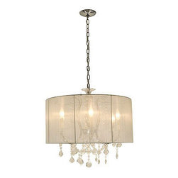 Crystal Veil Chandelier by Edge Lighting - Crystal Veil chandelier features a plain white silk shade with crystals accents and a chrome finish. Available with a patterned ivory silk shade. Six 60 watt, 120 volt, B10 candelabra base incandescent lamps included. General light distribution. Ul listed. Chain is 21 inches. 23.5 inch diameter x 43 inch height.