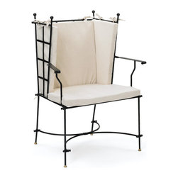 Charleston Chair - Charleston Chair brings a unique design to your home decor. This chair is constructed of iron with cotton based seats to provide you with ample comfort. It exhibits a cream finish to complete the antique style.