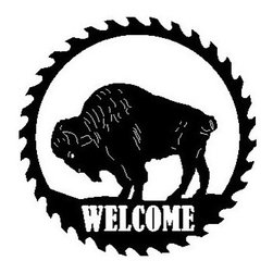 Buffalo Metal Sawblade Black with Welcome Cutout - This listing is for one sawblade that looks like the picture.