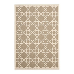 """Safavieh - Courtyard Brown Area Rug CY6032-242 - 2'7"""" x 5' - Safavieh takes classic beauty outside of the home with the launch of their Courtyard Collection. Made in Belgium with enhanced polypropylene for extra durability, these rugs are suitable for anywhere inside or outside of the house. To achieve more intricate and elaborate details in the designs, Safavieh used a specially-developed sisal weave."""