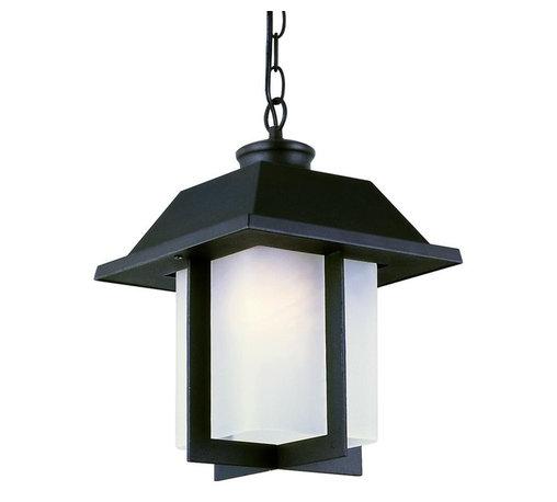 Joshua Marshal - One Light Black White Frosted Rectangle Glass Hanging Lantern - One Light Black White Frosted Rectangle Glass Hanging Lantern