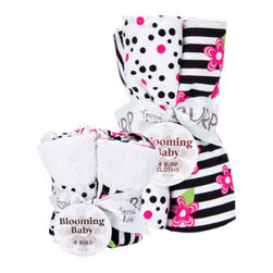 """Trend Lab - Bouquet Set - Zahara - Bib & Burp Cloth - Keep messes to a minimum with this stylish Zahara Bib and Burp Cloth Set by Trend Lab. Set includes four bibs and four burp cloths each with fun, modern prints and solids on the front and terry on the back. Bib and burp cloth patterns include: one black and white zebra print, one black and paradise pink confetti dot print on a white background, one black and white stripe print with paradise pink and electric lime floral accents and one that has solid paradise pink rosette velour. Each bib measures 9"""" x 13"""" with Velcro closure and each burp cloth measures 13"""" x 10""""."""