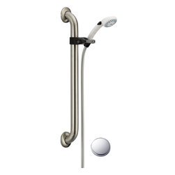 "Delta - Delta 52001-DS Accessory Adjustable Grab Bar Hand Shower - Delta 52001-DS Accessory Adjustable Grab Bar Hand Shower. This Hand Shower System is designed with a 60-82"" Stretchable metal hose, a 24"" glide rail with pin mount, and a five setting spray Hand Shower. You'll be able to reach those hard to reach places with ease and comfort. The white Hand Shower and Stainless Steel Rail system are backed by a lifetime warranty"