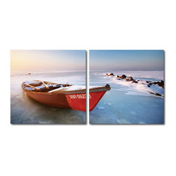 Baxton Studio - Baxton Studio Seasonal Seashore Mounted Photography Print Diptych - Retired for the season, the red rowboat rests retired along the frozen shore. This frosty image is a diptych: printed on two separate pieces of waterproof vinyl and mounted to two hollow MDF wood frames for displaying adjacent to one another. The Seasonal Seashore modern wall art set is made in China and comes fully assembled and ready to hang; however, mounting hardware is not included. To clean the contemporary photography wall art we recommend wiping with a dry cloth.