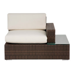 Source Outdoor - Manhattan Right Arm Facing Lounge Chair - Included Off-White cushions are made of thick outdoor foam covered in durable white outdoor polyester fabric. Color/Finish: Espresso. Material: High Density Polyethylene Wicker. No Assembly required. Frame made with high quality powder coated aluminum to prevent rust and corrosion. Weave is made of High Density Polyethylene, which ensures the long lasting beauty of the furniture. Built to Hospitality grade and meant to be outside in the elements 24/7 . 37 in. L x 42 in. W x 32 in. H, (53 lbs). It is recommended that furniture not be stored upside down