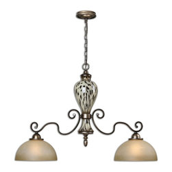 Matthew Williams - Matthew Williams Malawi Transitional Kitchen Island Light X-84212 - Lightly burnished cheetah print over ceramic accented with gracefully curved arms finished in heavily antiqued silver and lightly stained frosted glass shades.