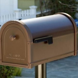 The Bellvue - Our Bellevue™ Collection offers an economical alternative to our premier Coronado line. This mailbox offers many of the same colors and options but uses a thinner gauge steel with die cast aluminum accents. Perfect for the home building industry, the Bellevue can be ordered with custom touches such as knob and accent colors and door embossing to match community logos or architectural themes. To find a dealer near you please visit: http://www.architecturalmailboxes.com/where-to-buy/default.aspx