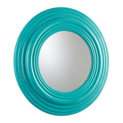 Cyan Design - Cyan Design Cain Transitional Round Mirror X-90650 - A heavily beveled and rounded frame is a surprisingly ornate and traditional look for this otherwise modern Cyan design round mirror. From the Cain Collection, this transitional mirror pairs its classic design elements with a bold and brilliant Cyan Blue hue, which is perfect for adding color to any home.