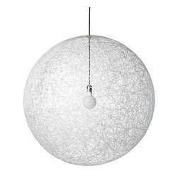 Moooi - Moooi | Random Light - White - Design by Bertjan Pot, 2001.By Moooi.Well on its way to becoming a classic. Random is formed from resin drained yarn that is randomly coiled around an inflatable mold, creating a magic translucent 3D fabric.The body is a unified piece with a small opening at the top for access to the lamp. Chrome stem and socket cover. Random provides ambient, direct illumination.