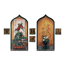 RTZ Company, Inc. - Asian Niches - Set an exotic mood in your decor with these Asian inspired matching niches framed in pointed, black moorish arches. Painted in trompe l'oeil style, details abound in Asian Niches. One painting depicts a twisted bonsai tree in front of an ancient scroll of Samari warriors. The other niche frames a simple, sophisticated ikebana flower arrangement of callalillies and bird of paradise in a black urn. The Asian symbols of fire, forest, mountain and wind are includes as faux tiles. ~ Trish