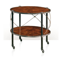 Theodore Alexander - Effortless II Lamp Table - oval laurel burl veneer and verdigris brass two tier lamp table, the two oval brass bound laurel tiers between tubular supports and bowed brass 'X' stretchers, on castors. The original Empire.