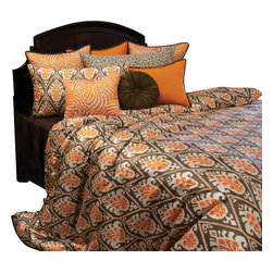 Tangerine Duvet Set, Ultra King - A clean and playful pattern of Tangerine and Coco Brown. Accented with Tangerine Zebra print and linen like solids.