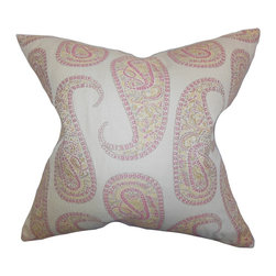 """The Pillow Collection - Amahl Paisley Pillow Pink 18"""" x 18"""" - Go for a subtle yet striking look for your living space. This accent pillow features a unique paisley print in pink, yellow and white hues. This square pillow uses a combination of 67% rayon and 33% polyester material. This throw pillow works well in various indoor settings and decor styles."""