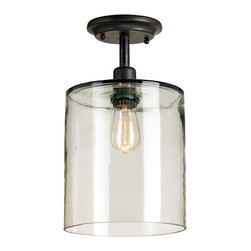 Kathy Kuo Home - Panorama Industrial Modern 1 Light Ceiling Mount - Sometimes a beautiful bulb is enough.  This single bulb ceiling mounted light places encircles a single filament bulb with glass - like an inverted hurricane lamp.  The effect transforms utility into beauty.  From vintage inspired to seriously industrial, a wide variety of spaces will find this piece a welcome addition on its own or in multiples.