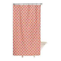"American Made Dorm & Home - Shower Curtain, Coral Metro - All-Cotton Shower Curtain in colors and patterns to perk up your bath! 72""x72"" with button hole openings for shower hooks. Shower hooks not included."