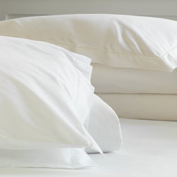 Frontgate - Gianna Duvet Cover - 100% cotton sateen woven in Italy. 400-thread count. Choose from neutral ivory or white. Machine Washable. Because this bedding is specially made to order, please allow 4-6 weeks for delivery.. Our Gianna Percale Bedding Collection by Eastern Accents is an essential in crisp and cool percale linens. Characterized by a subtle single hemstitch, its classic elegance and understated beauty make Gianna the ultimate collection for a restful night.  .  .  .  . . Fabrics woven in Italy; sewn in the U.S.A.
