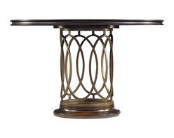 Stanley Furniture - Avalon Heights Neo Deco Pedestal Table - Chelsea Finish - Interlocking metal ovals create a transfixing base for the Neo Deco Pedestal Table. Reflecting the love of symmetry celebrated in Art Deco works, the ringed motif imparts an open and airy appeal to the table's base. The round, fixed top is the ideal location to highlight the gorgeous splendor of the collection's signature use of mapa burl wood. Combined, the metal and wood produce a design that is inspired by the past, yet completely current. Made to order in America.