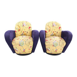 Morgan Swivel Barrel Chairs - Morgan seating Art Deco ultra suede aubergine and multi yellow fabric color original upholstery swivel barrel armchairs. Arm 26.5''H; Seat 17.5''H. Mission Avenue Studio.