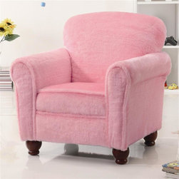 Coaster - Kids Upholstered Accent Chair in Pink - Casual style. Plush seat cushion. Soft and fuzzy pink fabric upholstery. Soft rolled arms. Plush tight back. Turned feet. 20.5 in. W x 20 in. D x 28 in. H. WarrantyChildren love color! Add this fun upholstered accent chair to the youth bedroom, playroom, or family room in your home.