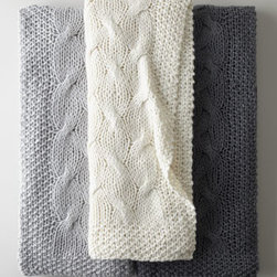 """Horchow - Cable-Knit Throw - Like an oversized version of a favorite sweater, this comfy throw features a bulky cable-knit design for warmth and texture. Made of acrylic/wool blend. Hand wash. 50"""" x 60"""". Imported."""