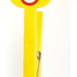 """Modern Yellow Plastic Pegs Pack Of 4 - They are called """"clothes pegs"""" but they have multiple uses."""