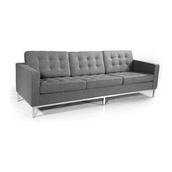 Kardiel Florence Knoll Style Sofa 3 Seat, Cadet Grey Tweed Cashmere Wool - The Florence Knoll Sofa, Chair and Loveseat is a design icon. The original design was conceived in 1956 by Florence Knoll, a world class architect and designer. It is a relatively simple design as it was originally meant to complement the classic innovations of Saarinen and Bertoia. The Knoll philosophy of furniture design solves practical and aesthetic design problems. The philosophy results in minimalist beauty, lasting durability and luxurious comfort in one complete package. It is well known that Knoll studied and collaborated with Mies Van Der Rohe. Knoll designed the classic trio using a durable stainless steel frame with minimal materials. Cubic cushions featuring compressed buttons in a purposeful and logical layout provide style and comfort to the supporting thin armed, minimalist frame. Do you notice the similarities in design philosophy to the Mies Van der Rohe's Barcelona Chair? The Knoll Sofa, Love and Chair is becoming even more popular as its minimalist yet functional de