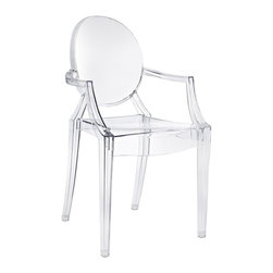 "Modway - Casper Dining Chair in Clear - Combine artistic endeavors into a unified vision of harmony and grace with the ethereal Casper Chair. Allow bursts of creative energy to reach every aspect of your contemporary living space as this masterpiece reinvents your surroundings. Surprisingly sturdy and durable, the Casper Chair is appropriate for any room or outdoor setting. Pure perception awaits, as shining moments of brilliance turn visual vacuums into new realms of transcendence. Includes: One - Casper Armchair; For All Weather Use; No Assembly Required; Injection Molded; Stackable; Sturdy Acrylic; Dimensions: 22""L x 21""W x 36""H; Seat Height: 18.5""H; Armrest Height: 26""H"