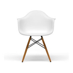 Baxton Studio - White Plastic Mid-Century Modern Shell Chair (set of 2) - The retro simplicity of these classic black modern shell chairs will instantly enhance the modernity of your room. Each of these mid-century modern dining chairs is made from durable molded plastic with an ergonomically-shaped and curved seat and armrests. The legs are wooden and include steel hardware in black as well as black plastic tips to protect sensitive flooring.