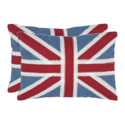 Safavieh - Safavieh Charles Pillow (Set of 2) X-2TES-9131-A888LIP - The British Union Jack gets a fashion makeover with stripes of fringed red denim and white finely woven linen.