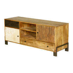 Shop Industrial Reclaimed Wood & Iron Rustic Media Center TV Stand Rolling Cabinet Products on Houzz