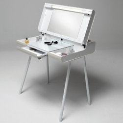 Collapsible Makeup Table - A makeup table with ample storage would be a godsend for all of my products, which tend to wind up spread all over the house. This has a drawer and two side trays that feature a clever sunken area so taller bottles can be stored. And the whole unit is collapsible if you want things to tuck away even tidier.
