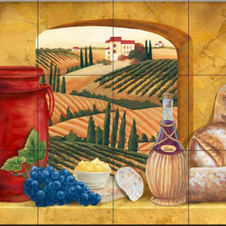 The Tile Mural Store (USA) - Tile Mural - Tuscany Window - Mt - Kitchen Backsplash Ideas - This beautiful artwork by Mary Lou Troutman has been digitally reproduced for tiles and depicts a tuscan view and some wine and bread.  Our kitchen tile murals are perfect to use as part of your kitchen backsplash tile project. Add interest to your kitchen backsplash wall with a decorative tile mural. If you are remodeling your kitchen or building a new home, install a tile mural above your stove top or install a tile mural above your sink. Adding a decorative tile mural to your backsplash is a wonderful idea and will liven up the space behind your cooktop or sink.