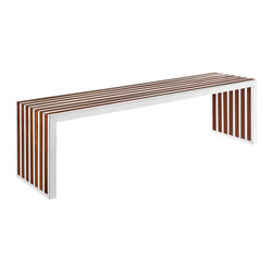 LexMod - Gridiron Large Wood Inlay Bench in Walnut - The conduit design of this Gridiron series installment artfully blends stainless steel tubing with mahogany varnished poplar wood slats. Modernism used to be about extremes. Wild shapes and patterns that don't dare resemble its predecessors. We've reached an age of maturity of sorts. We appreciate style, but all the more, we respect those designs that represent a blending of cultures. The Gridiron steel and wood panel bench is famous not for its radical shape, but for the strategic transcendence that it provides. Gridiron is perfect for reception rooms, living and lounge areas, and any other place in need of transformation.