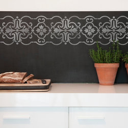 Granada Border Stencil - Granada Border Wall Stencil from Royal Design Studio Stencils. This unique chalkboard stencil pattern can also be done with paint on walls, furniture and floors. This mediterranean style design works with traditional and Old World decor.